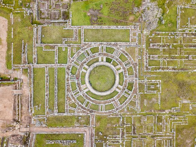 Aerial close up view of ruins in Cuzco city, Peru