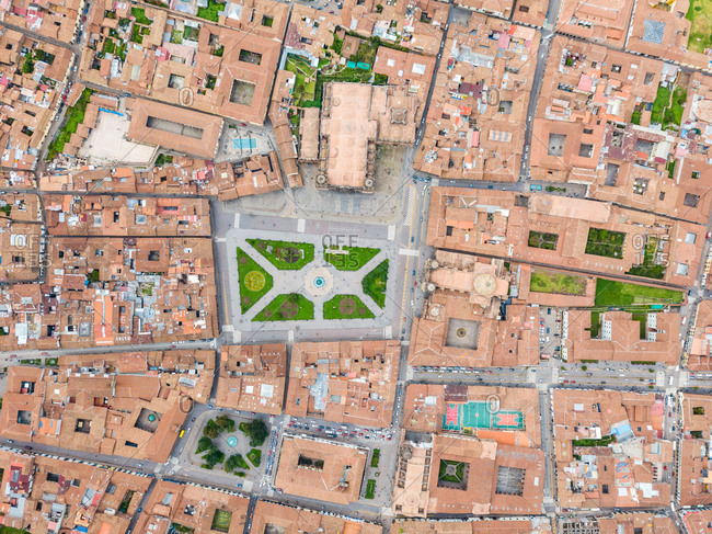 Aerial view of Cuzco city red rooftops, Peru