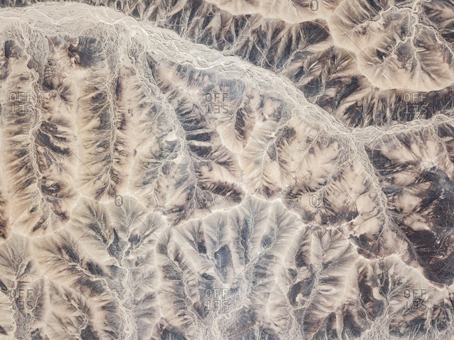 Aerial abstract view of rock formations  in Palpa province, Peru