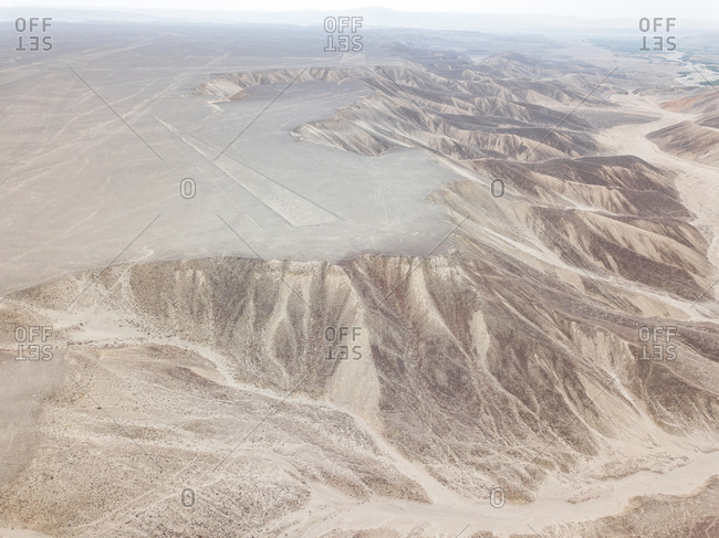 Aerial abstract view of Nazca desert, Peru