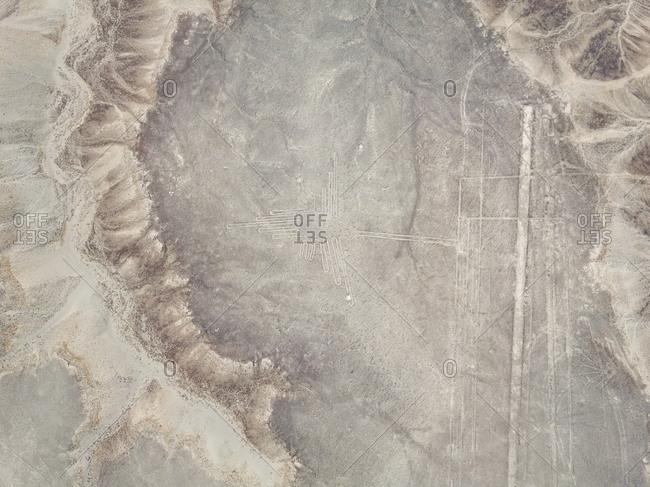 Aerial view of geometric shapes  geoglyph in Nazca, Peru
