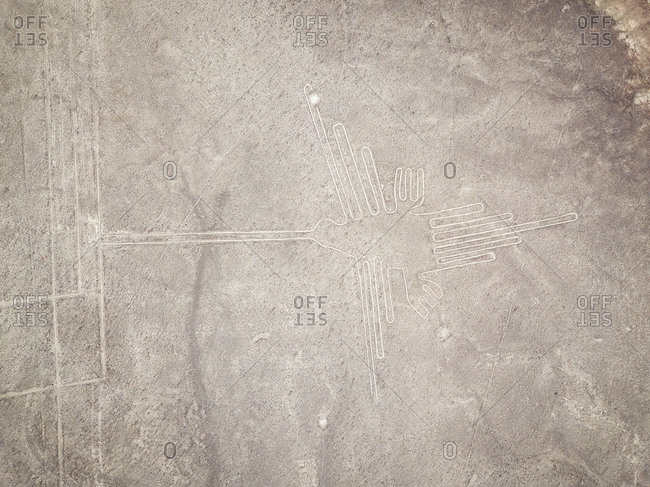 Aerial close up view of geometric shapes  geoglyph in Nazca, Peru