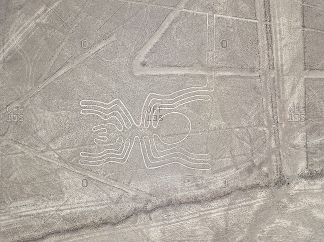 Aerial view of spider zoomorphic geoglyph in Nazca, Peru