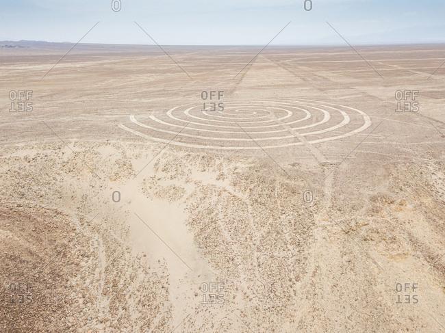 Aerial view of circular geometric shapes  geoglyph in Nazca, Peru