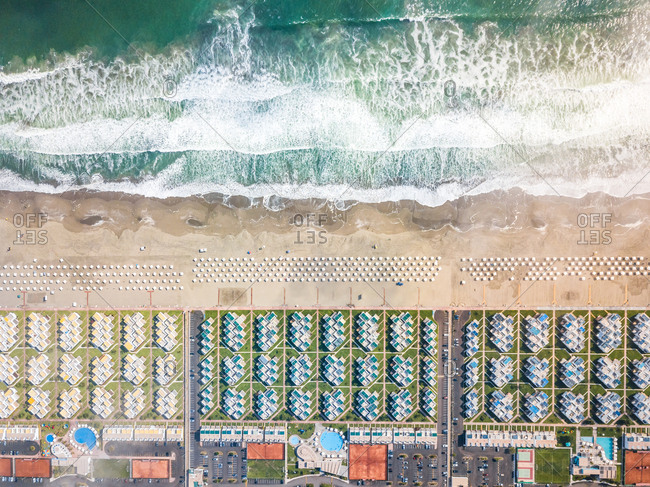 Aerial view of seaside luxury resort with swimming pools, Sarapampa, Peru