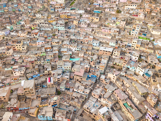 Lima, Peru - March 24, 2018: Aerial view of geometrical residential buildings and houses in Lima, Peru