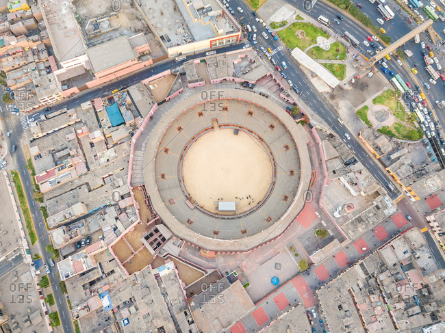 Aerial view of sport stadium arena, Lima, Peru