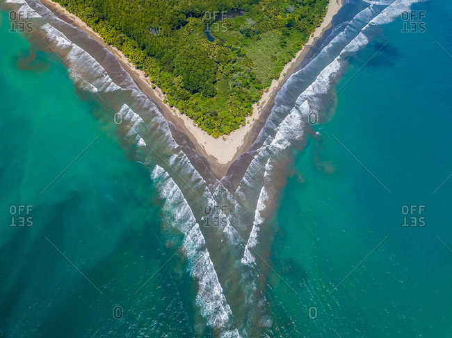 Aerial view of Marino Ballena national park and Uvita Beach, Costa Rica