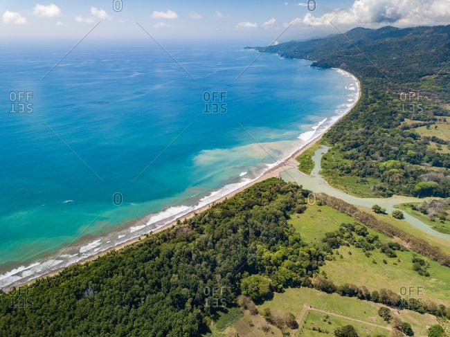 Aerial panoramic view of Marino Ballena national park and Uvita Beach, Costa Rica