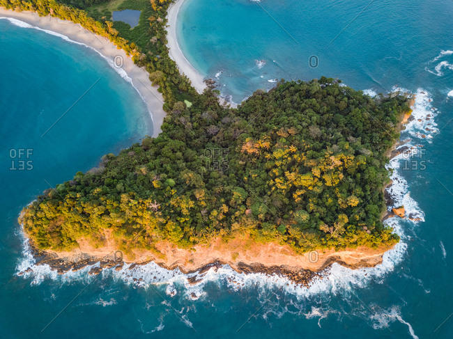 Aerial view of Cathedral Point rock in Espadilla Beach, Costa Rica