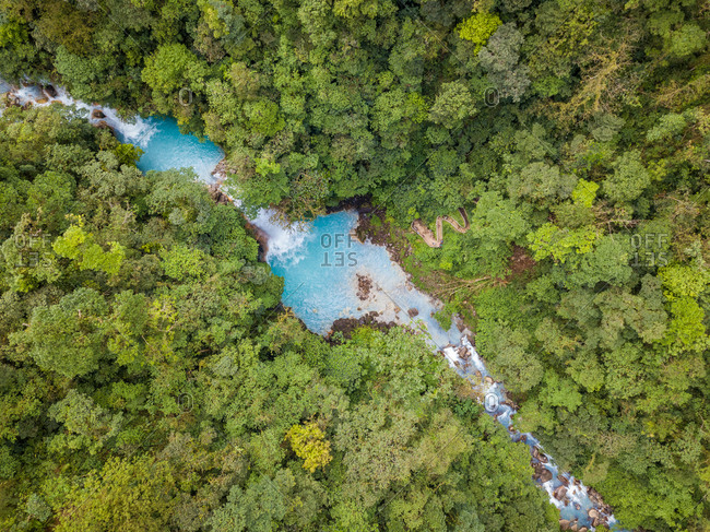 Aerial view of Celeste waterfall in Tenorio Volcano National Park, Costa Rica