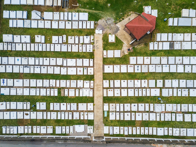 Aerial view of gravestones in Cementerio de Cot, Costa Rica