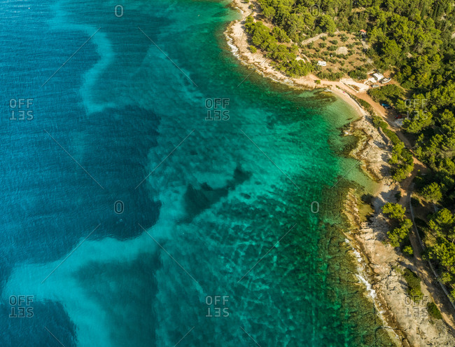 Aerial view of Adriatic sea and Brac island coastline, Sutivan, Croatia