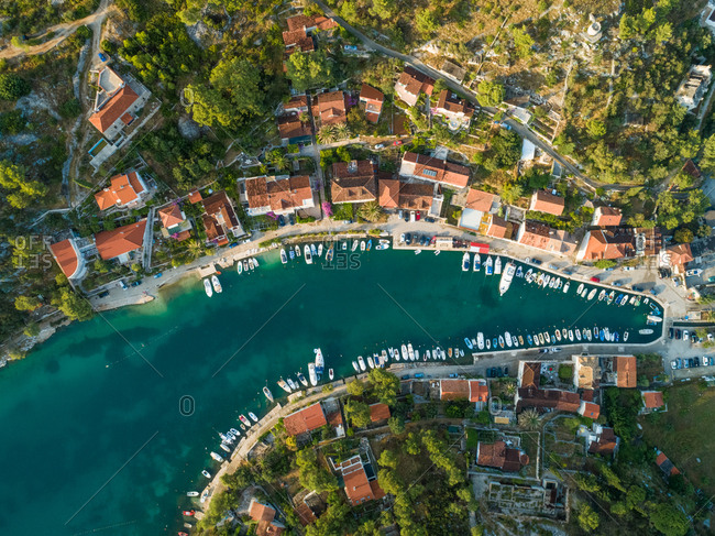 Aerial view of boats in harbour and Sutivan town, Brac island, Croatia