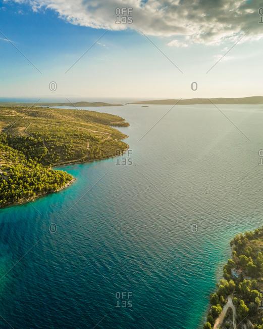 Aerial panoramic view of Adriatic sea and Brac island, Croatia