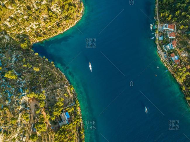 Aerial view of yachts and houses in coastal town Sutivan, Brac island, Croatia