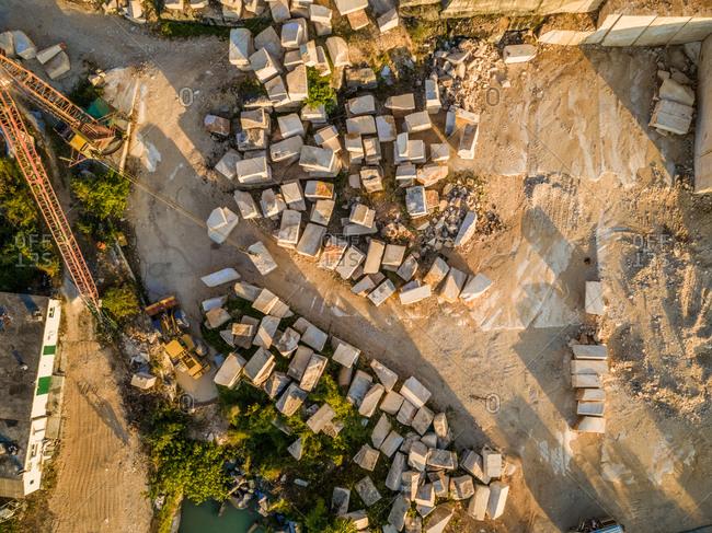 Aerial view of quarry with crane and Brac stone, Brac island Croatia