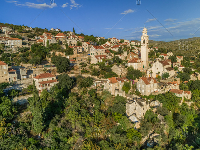 Aerial view of traditional dalmatian village of Lozisca, Brac Island, Croatia