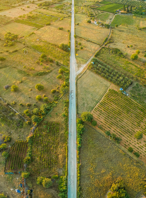 Aerial view of long road in Nerezisca dalmatian village, Brac Island, Croatia