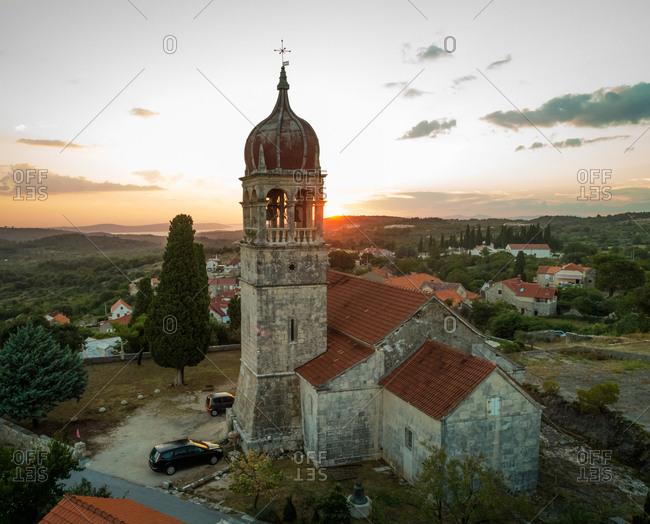 Aerial view of saint Fabijan and Sebastijan church in Donji Humac, Brac island, Croatia