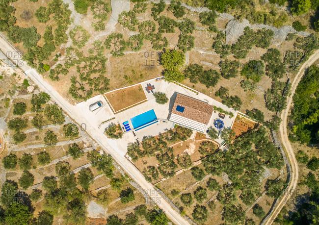 Aerial view of villa with swimming pool in Sumartin, Brac island, Croatia