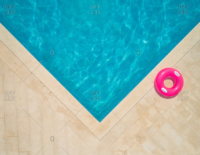 Aerial view of swimming pool and inflatable ring in Sumartin, Brac, Croatia