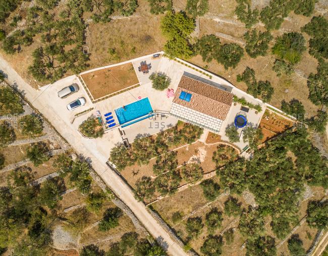 Aerial view of villa with swimming pool, Sumartin, Brac island, Croatia