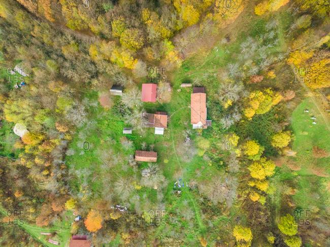 BLATUSA, CROATIA - 11 NOVEMBER 2017: Aerial view of Blatusa eco village, Eko selo, buildings and rooftops, Croatia