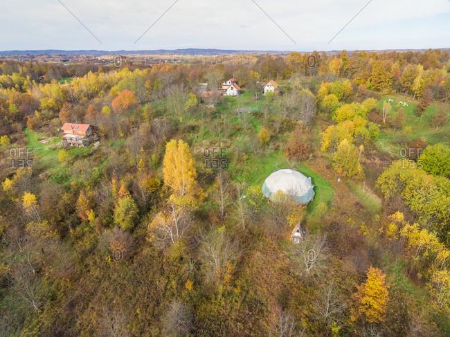 BLATUSA, CROATIA - 11 NOVEMBER 2017: Aerial panoramic view of Blatusa eco village, Eko selo, Croatia