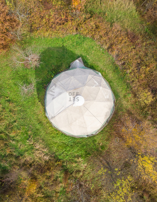 BLATUSA, CROATIA - 11 NOVEMBER 2017: Aerial abstract view of white octagonal dome house, Blatusa, eko selo, Croatia
