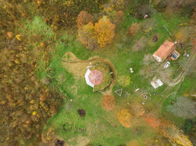 BLATUSA, CROATIA - 11 NOVEMBER 2017: Aerial view of house with living roof, Blatusa, eco village, Croatia