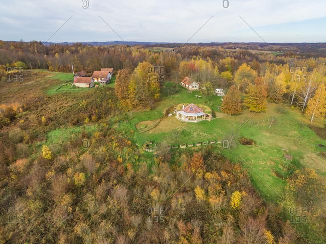 BLATUSA, CROATIA - 11 NOVEMBER 2017: Aerial view of houses in nature in autumn, Blatusa, eco village, Croatia