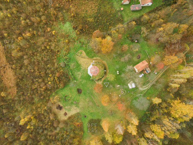 BLATUSA, CROATIA - 11 NOVEMBER 2017: Aerial view of eco village buildings surrounded by forest, Blatusa, Croatia