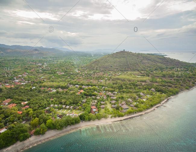 Aerial panoramic view of coastal Gerokgak district, Bali