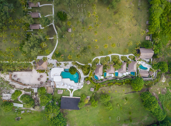 PEMENANG, INDONESIA - 18 OCTOBER 2017: Aerial view of Pondok Santi Estate Luxury Beachside Gili Trawagan, Indonesia