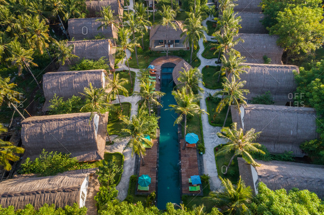 PEMENANG, INDONESIA - 12 MAY 2017: Aerial view of Jambuluwuk Oceano Resort, Indonesia