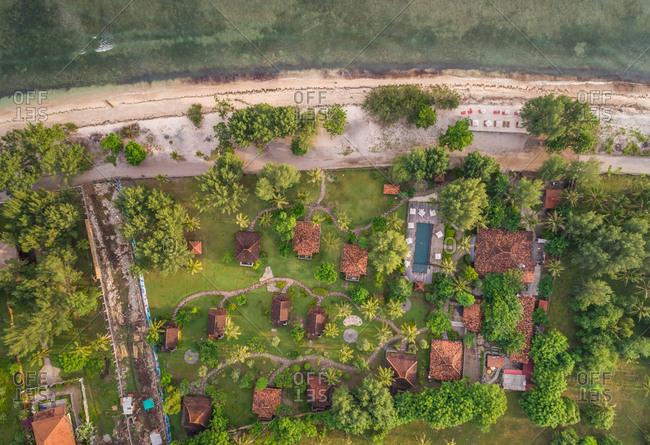 PEMENANG, INDONESIA - 13 MAY 2017: Aerial view of Desa Dunia Beda Beach Resort, Indonesia