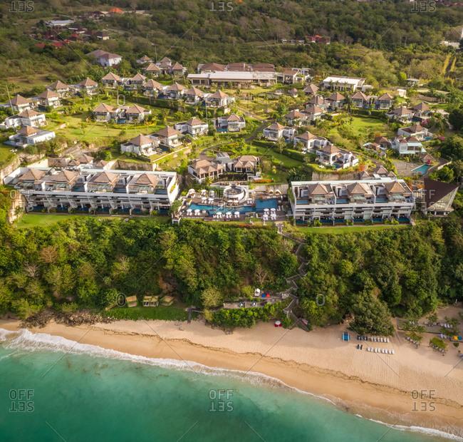 KUTA SELATAN, BALI - 6 JULY  2018: Aerial panoramic view of beachfront Samabe Bali Suites and Villas resort, Bali