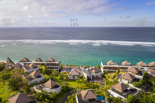 KUTA SELATAN, BALI - 6 JULY  2018: Aerial close up view of luxurious Samabe Bali Suites and Villas resort, Bali