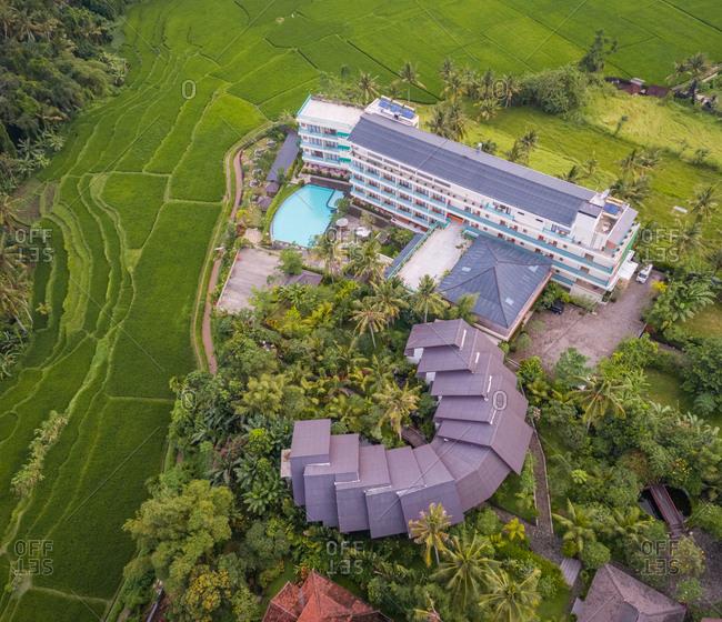 UBUD, BALI - 18 OCTOBER 2017: Aerial view of Royal Casa Ganesha Hotel and Spa, Bali