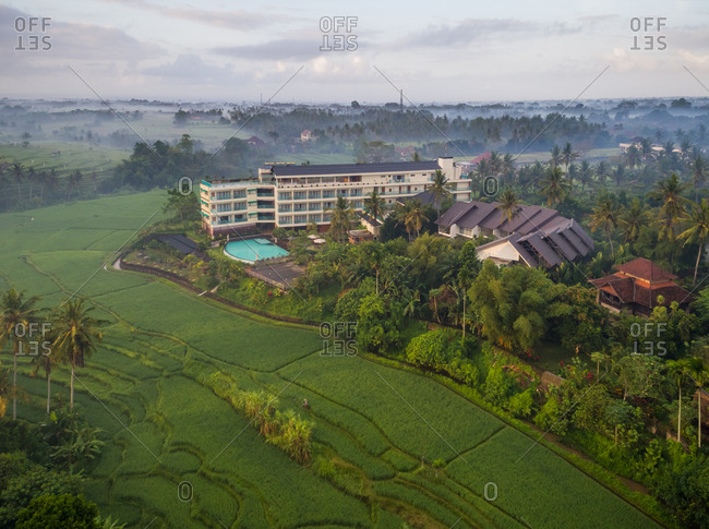 UBUD, BALI - 18 OCTOBER 2017: Aerial panoramic view of Royal Casa Ganesha Hotel and Spa, Bali
