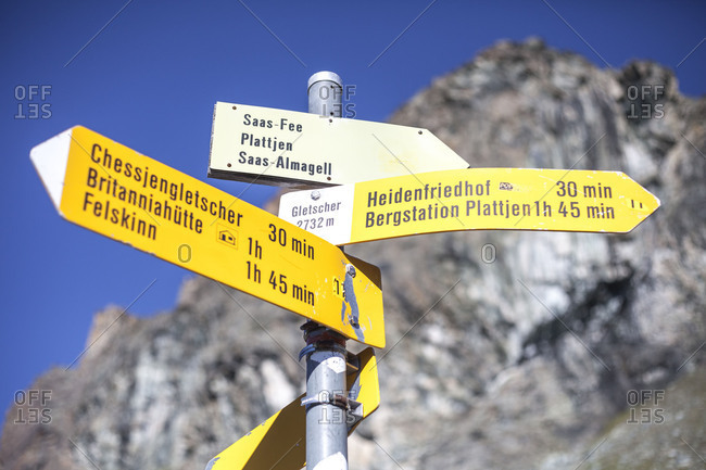 Signpost on footpath, Switzerland