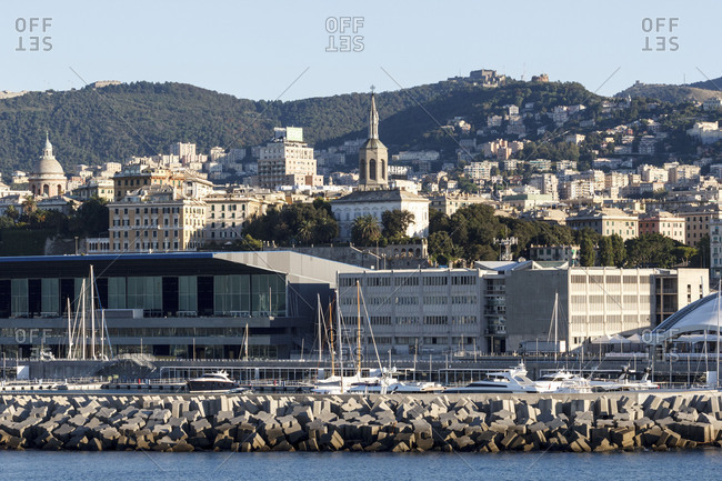 Genoa, Italy - April 26, 2017: View from the Mediterranean harbour in Genoa, Italy
