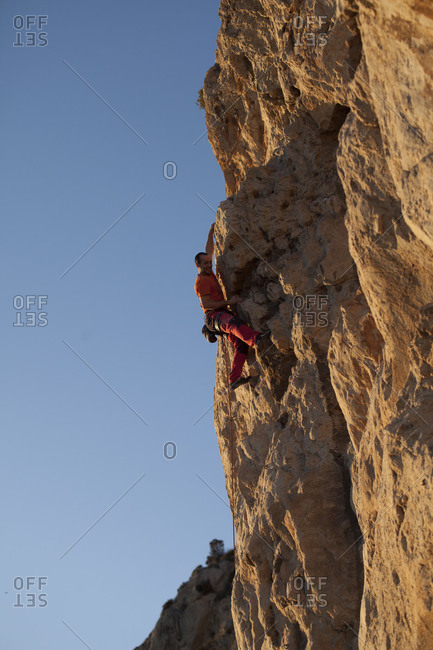 Catalonia, Spain - July 28, 2017: Climbing area Pas de la Mala Dona, Costa del Garraf, Catalonia, Spain