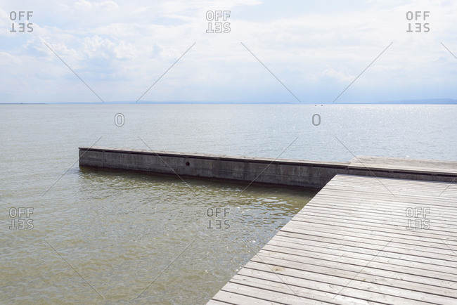 Wooden jetty, Weiden, Lake Neusiedl, Burgenland, Austria, Europe