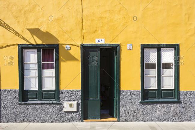 Canary Islands, Spain - May 23, 2017: House door with windows, Puerto de la Cruz, Tenerife, Canary Islands, Spain