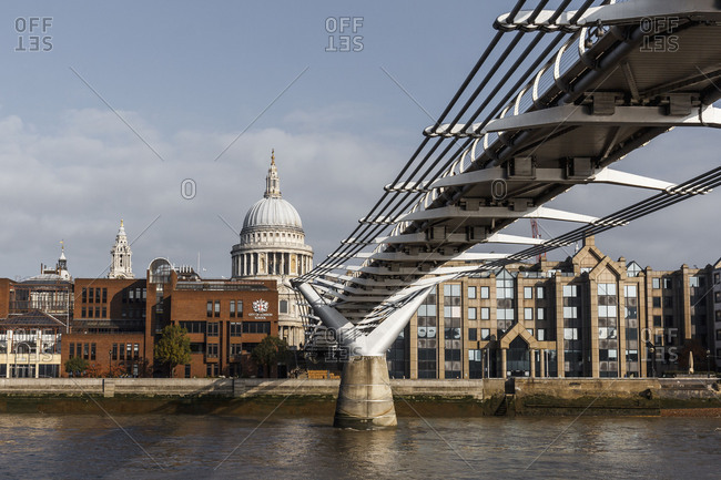 London, Great Britain - January 24, 2018: The Thames with view to the millennium Bridge and the St. Paul's Cathedral in London, England, Great Britain.