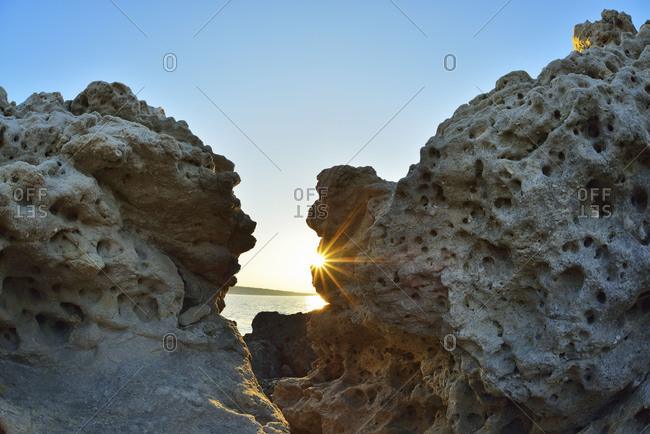 Rocky coast at sunrise in summer, La Couronne, France