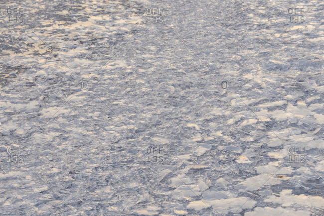 Ice on frozen river Main, Boxtal, Baden-Wurttemberg, Germany