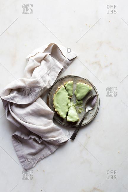 Gluten - free matcha cream tart